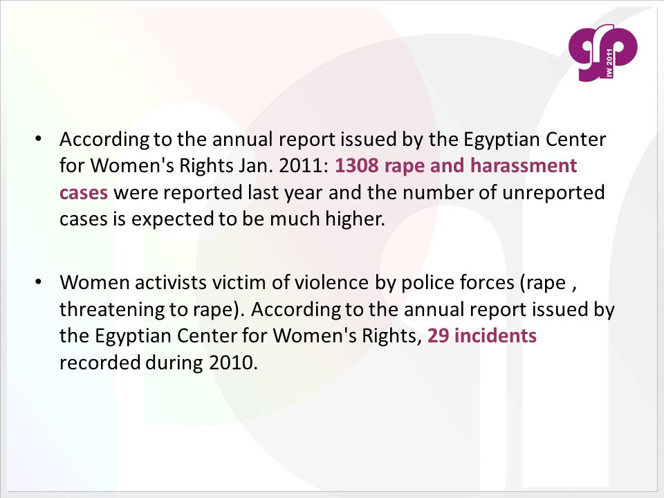According to the annual report issued by the Egyptian Center for Women s Rights Jan.