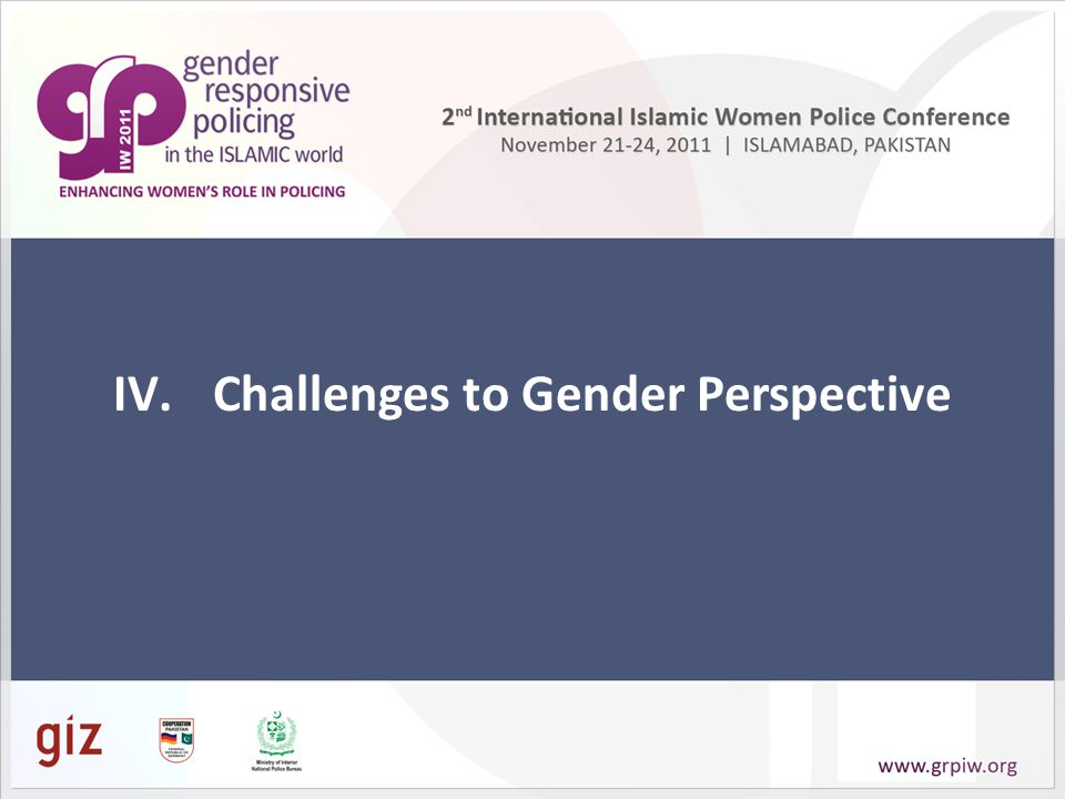 IV.Challenges to Gender Perspective