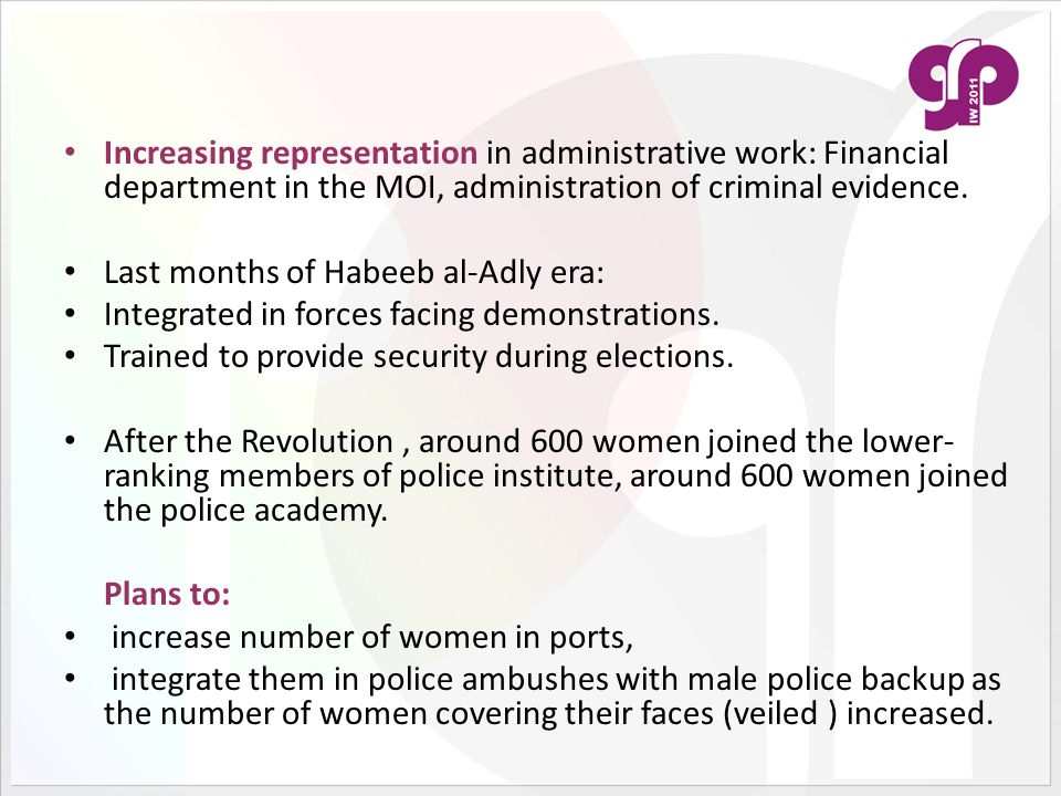 Increasing representation in administrative work: Financial department in the MOI, administration of criminal evidence.