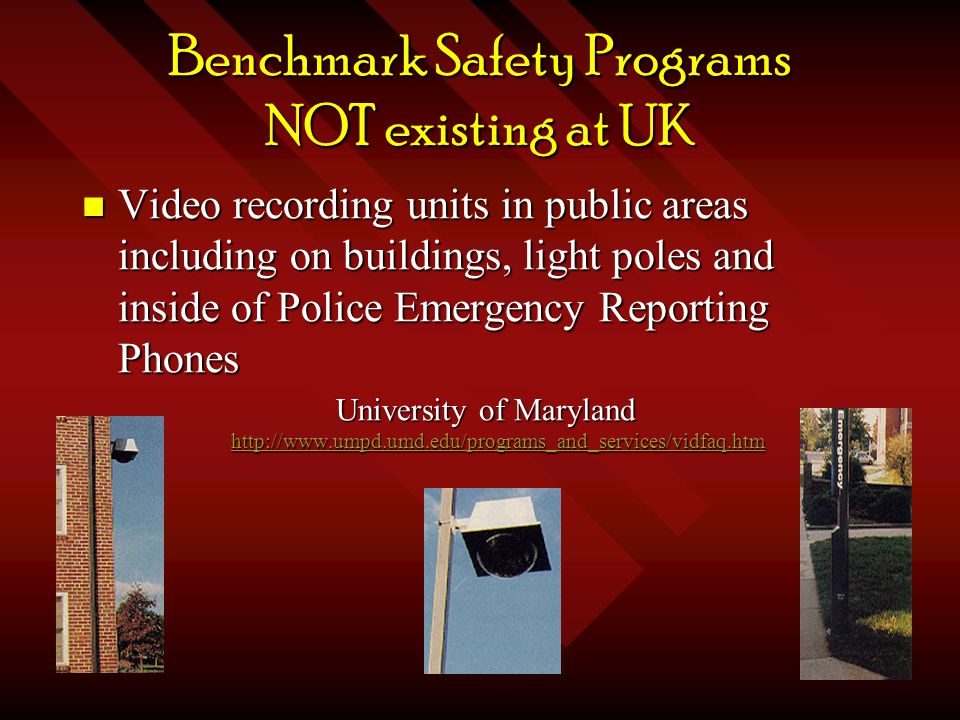 Benchmark Safety Programs NOT existing at UK Video recording units in public areas including on buildings, light poles and inside of Police Emergency