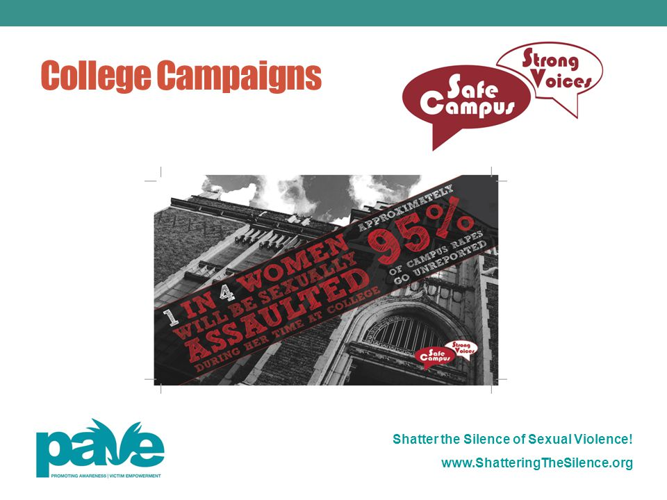 Shatter the Silence of Sexual Violence! www.ShatteringTheSilence.org College Campaigns
