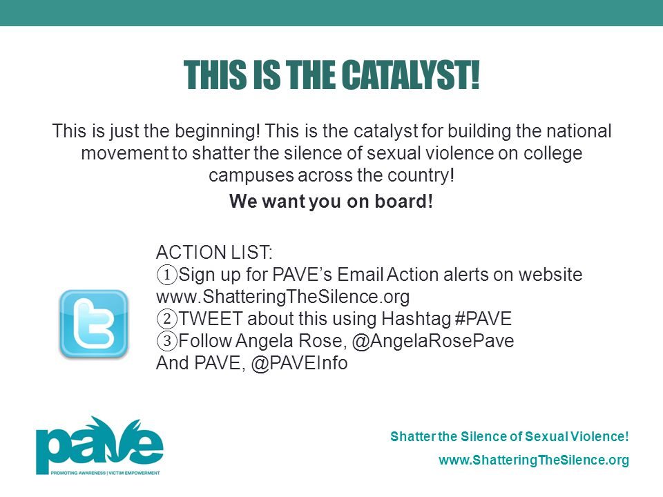 Shatter the Silence of Sexual Violence. www.ShatteringTheSilence.org THIS IS THE CATALYST.