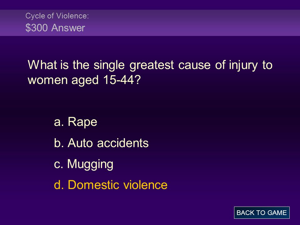 Cycle of Violence: $300 Answer What is the single greatest cause of injury to women aged 15-44.