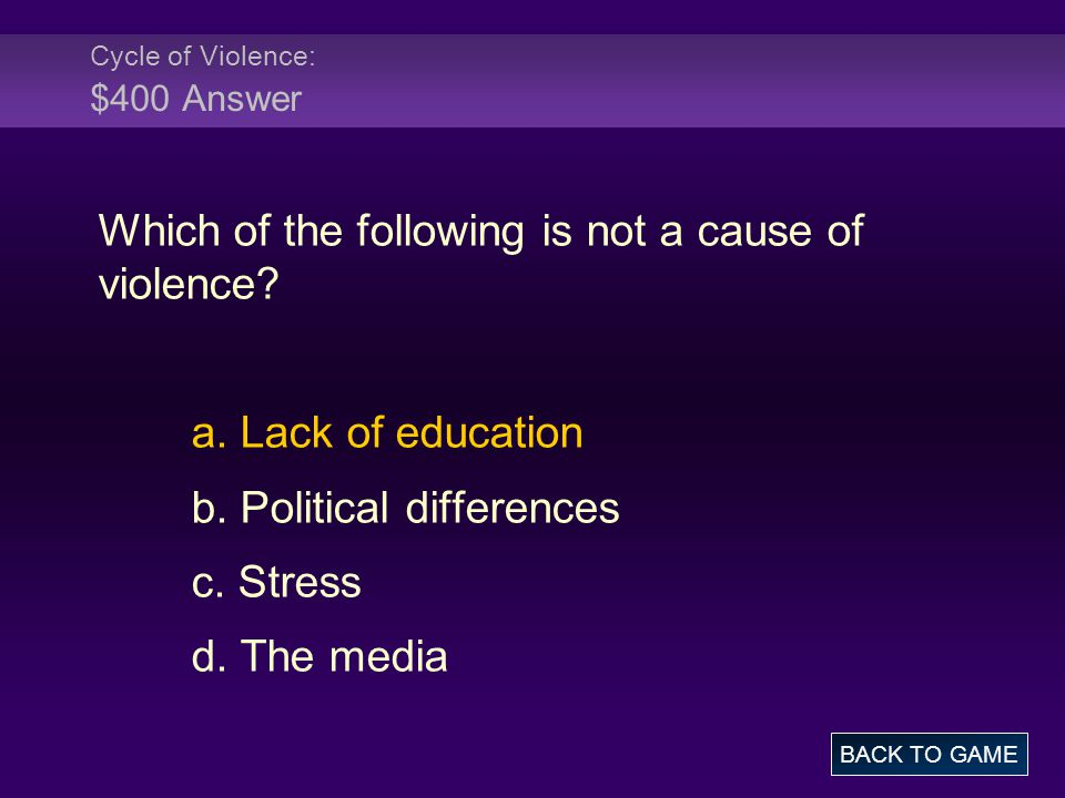 Cycle of Violence: $400 Answer Which of the following is not a cause of violence.