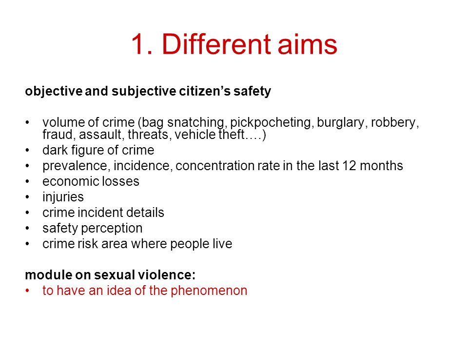 1. Different aims objective and subjective citizen's safety volume of crime (bag snatching, pickpocheting, burglary, robbery, fraud, assault, threats,
