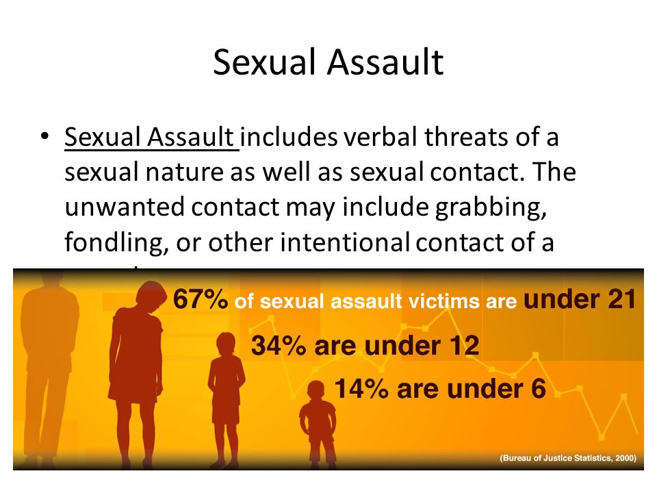 Sexual Assault Sexual Assault includes verbal threats of a sexual nature as well as sexual contact.