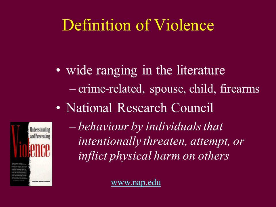Categories of Violence Crime-based Violence –Homicide –Robbery –Rape –Serious Assaults Firearm-related Violence Suicide Domestic Violence