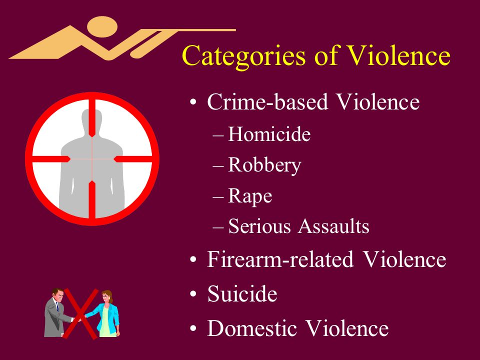 Categories of Violence Crime-based Violence –Homicide –Robbery –Rape –Serious Assaults Firearm-related Violence Suicide Domestic Violence
