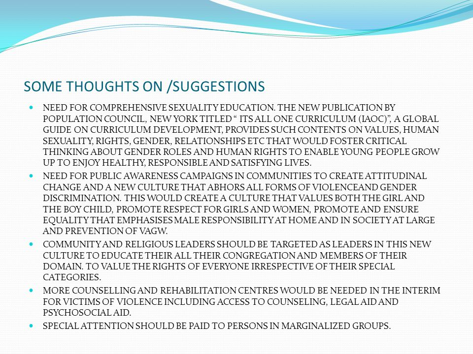 SOME THOUGHTS ON /SUGGESTIONS NEED FOR COMPREHENSIVE SEXUALITY EDUCATION.