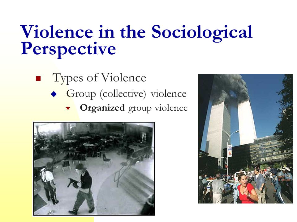 Violence in the Sociological Perspective Types of Violence  Group (collective) violence  Institutionalized group violence