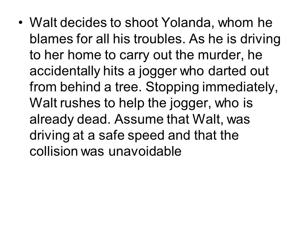 Walt decides to shoot Yolanda, whom he blames for all his troubles. As he is driving to her home to carry out the murder, he accidentally hits a jogge