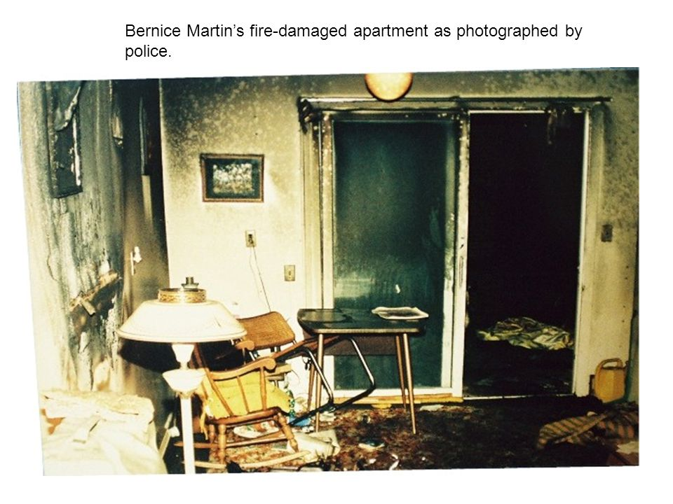 Bernice Martin's fire-damaged apartment as photographed by police.