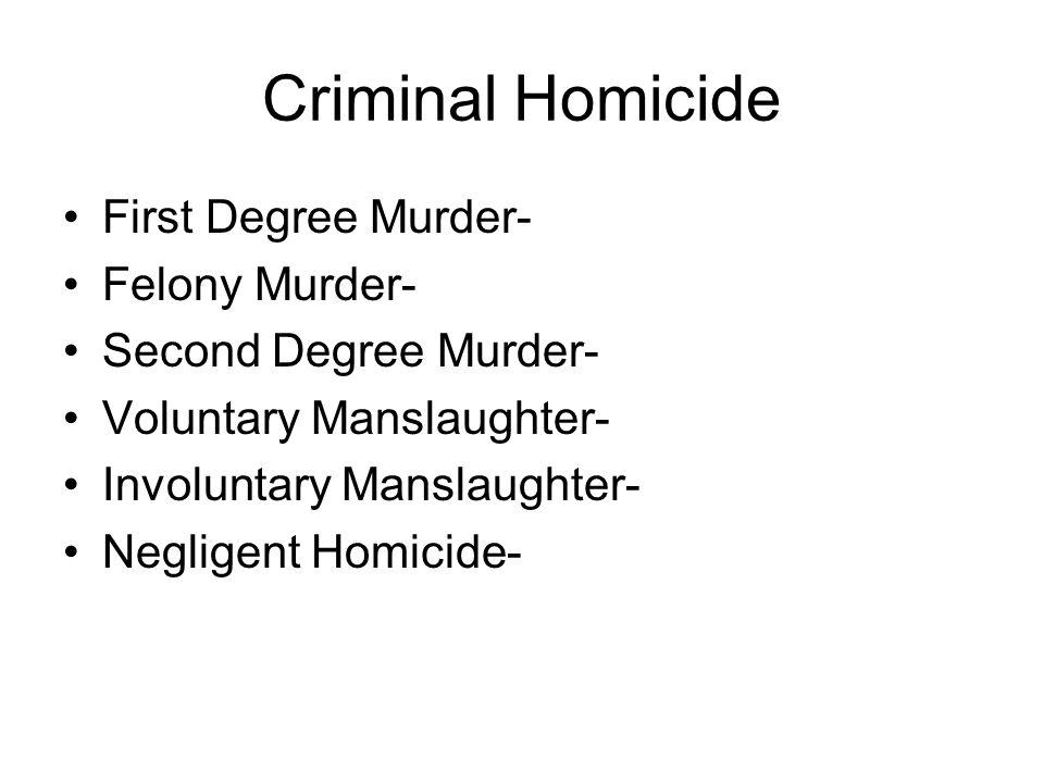 Criminal Homicide First Degree Murder- Felony Murder- Second Degree Murder- Voluntary Manslaughter- Involuntary Manslaughter- Negligent Homicide-