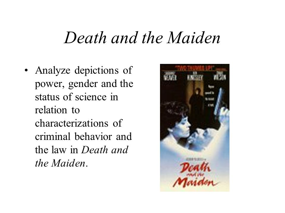 Death and the Maiden Analyze depictions of power, gender and the status of science in relation to characterizations of criminal behavior and the law in Death and the Maiden.