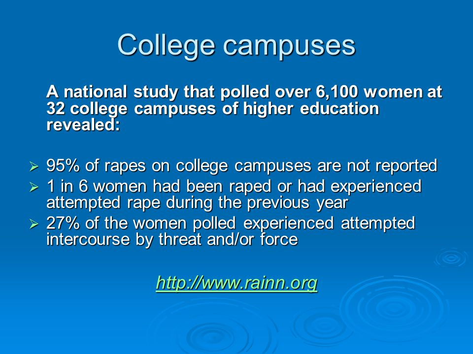 College campuses A national study that polled over 6,100 women at 32 college campuses of higher education revealed:  95% of rapes on college campuses are not reported  1 in 6 women had been raped or had experienced attempted rape during the previous year  27% of the women polled experienced attempted intercourse by threat and/or force http://www.rainn.org