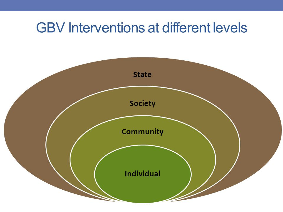State Society Community Individual GBV Interventions at different levels