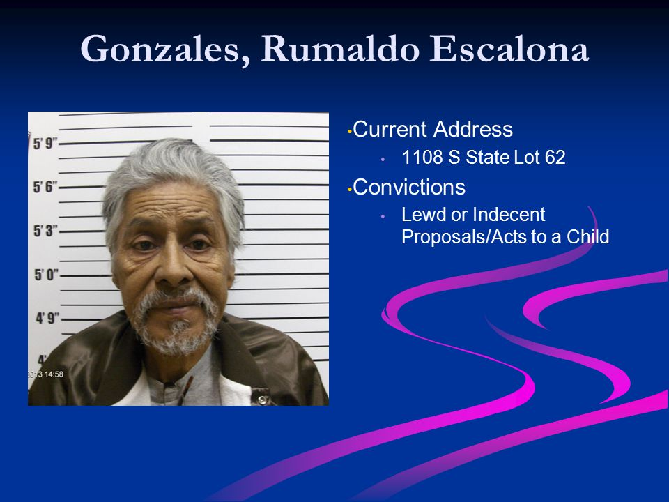 Gonzales, Rumaldo Escalona Current Address 1108 S State Lot 62 Convictions Lewd or Indecent Proposals/Acts to a Child