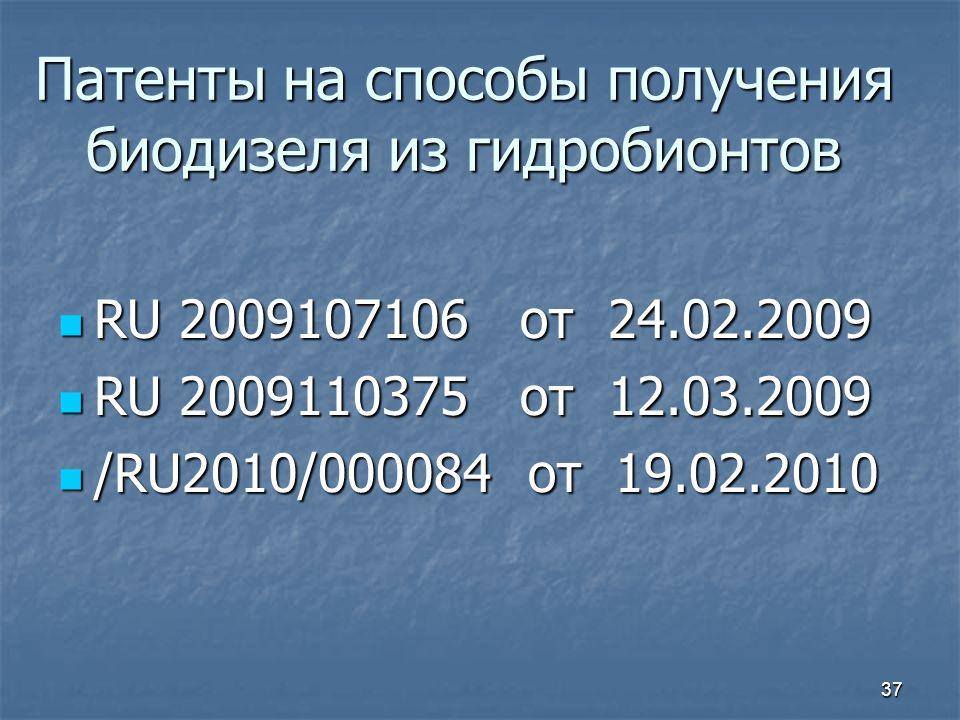 Патенты на способы получения биодизеля из гидробионтов RU 2009107106 от 24.02.2009 RU 2009107106 от 24.02.2009 RU 2009110375 от 12.03.2009 RU 2009110375 от 12.03.2009 /RU2010/000084 от 19.02.2010 /RU2010/000084 от 19.02.2010 37