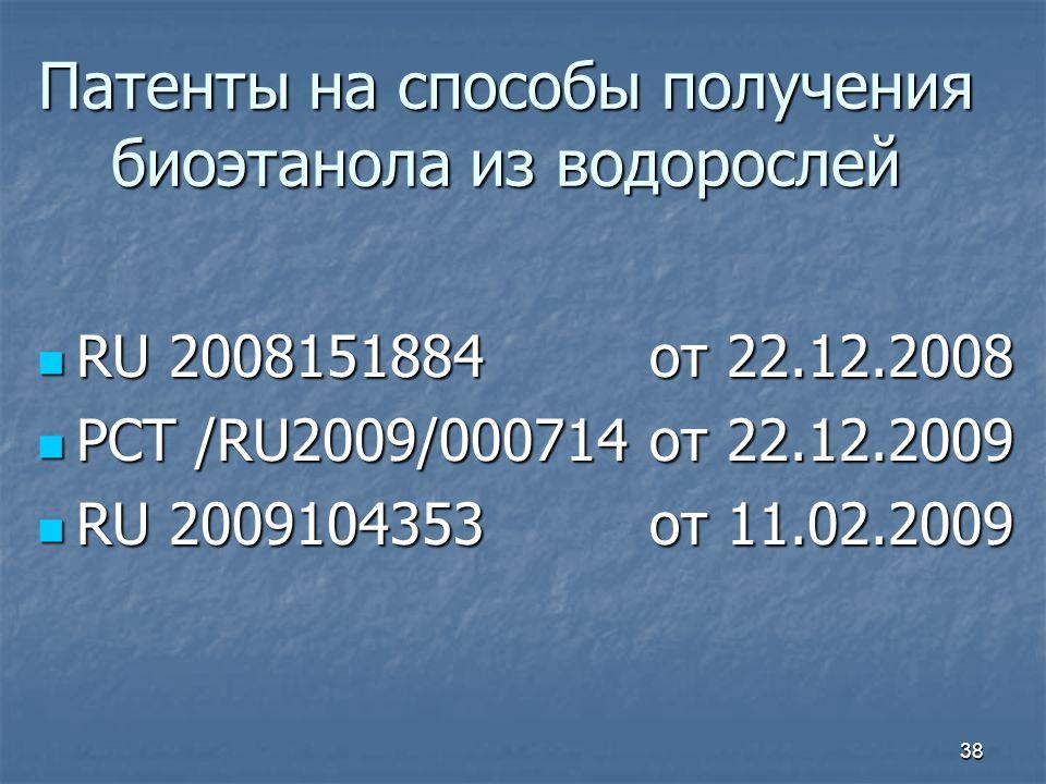 Патенты на способы получения биоэтанола из водорослей RU 2008151884 от 22.12.2008 RU 2008151884 от 22.12.2008 РСТ /RU2009/000714 от 22.12.2009 РСТ /RU2009/000714 от 22.12.2009 RU 2009104353 от 11.02.2009 RU 2009104353 от 11.02.2009 38