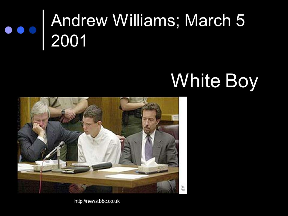 Andrew Williams; March 5 2001 White Boy http://news.bbc.co.uk