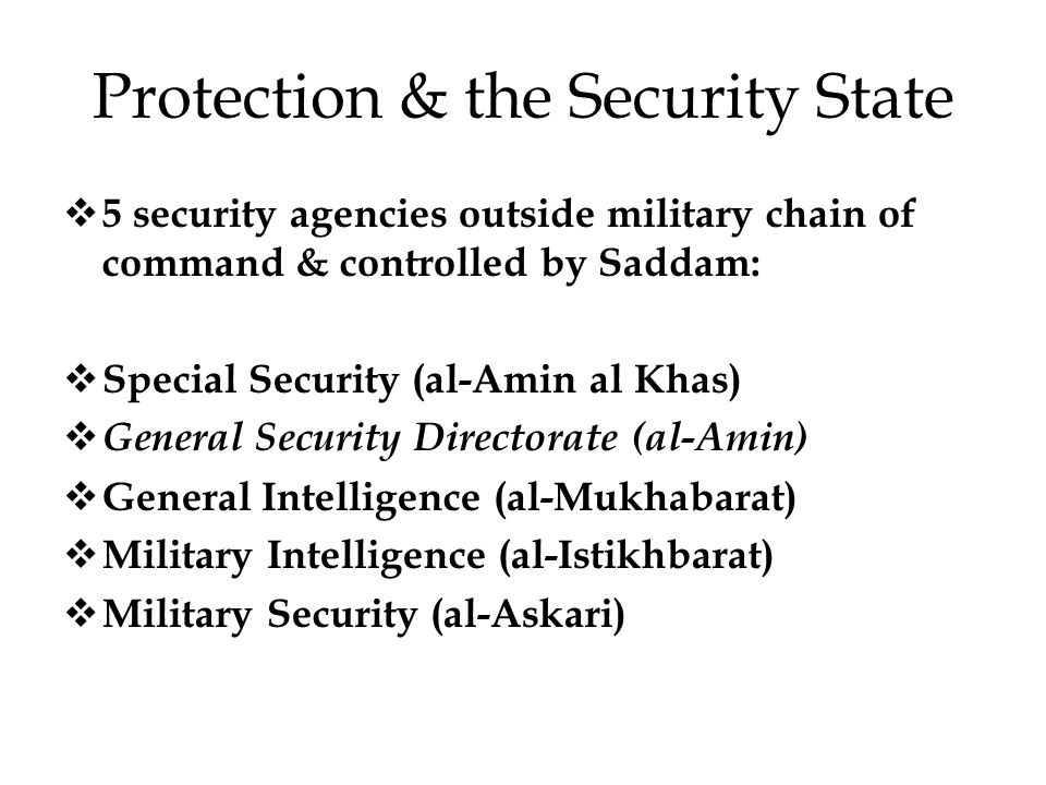Protection & the Security State  5 security agencies outside military chain of command & controlled by Saddam:  Special Security (al-Amin al Khas)  General Security Directorate (al-Amin)  General Intelligence (al-Mukhabarat)  Military Intelligence (al-Istikhbarat)  Military Security (al-Askari)