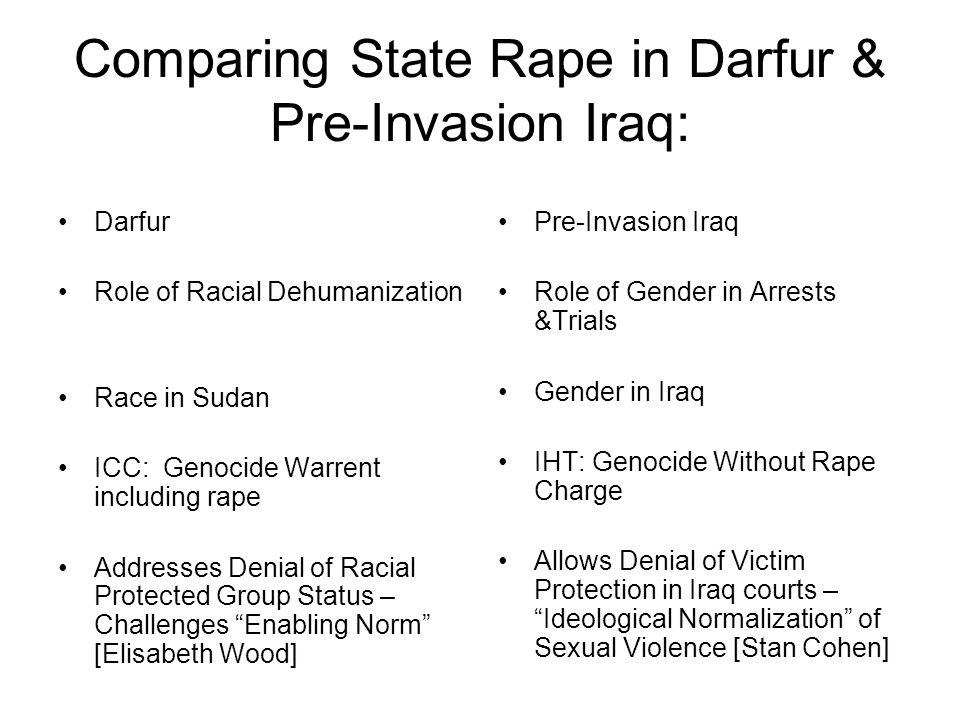 Comparing State Rape in Darfur & Pre-Invasion Iraq: Darfur Role of Racial Dehumanization Race in Sudan ICC: Genocide Warrent including rape Addresses