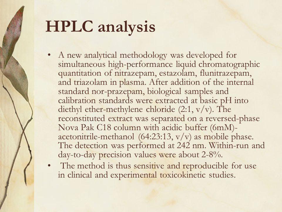 HPLC analysis A new analytical methodology was developed for simultaneous high-performance liquid chromatographic quantitation of nitrazepam, estazola