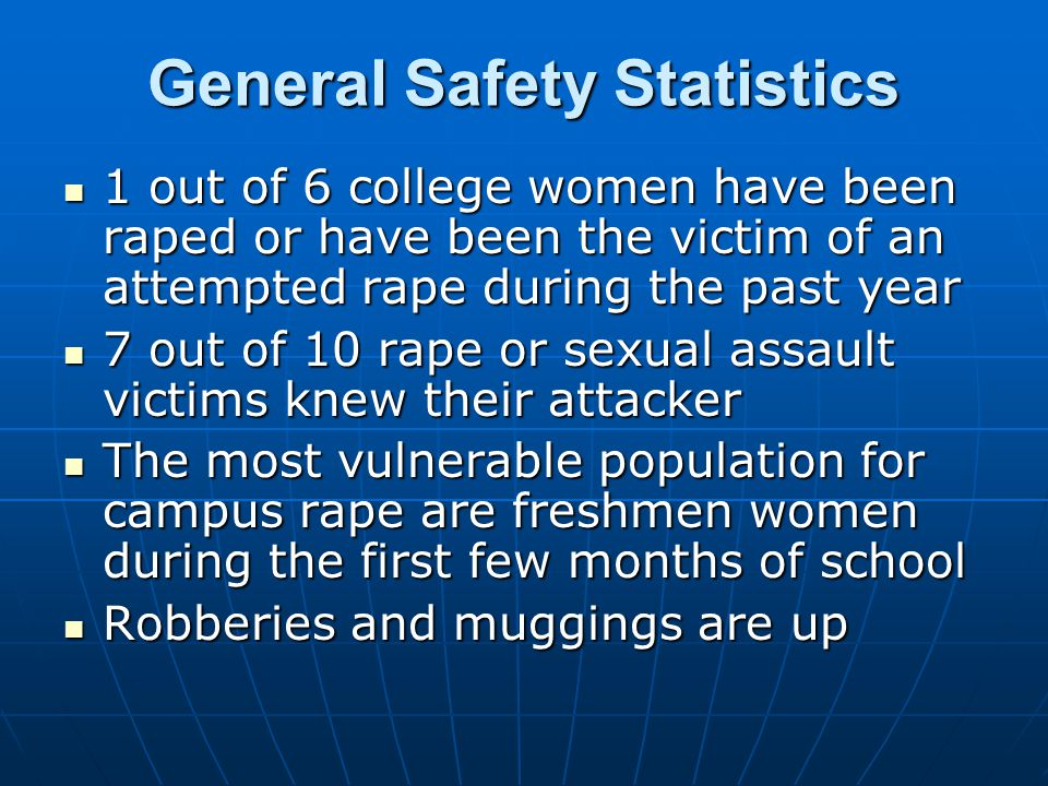 General Safety Statistics 1 out of 6 college women have been raped or have been the victim of an attempted rape during the past year 1 out of 6 college women have been raped or have been the victim of an attempted rape during the past year 7 out of 10 rape or sexual assault victims knew their attacker 7 out of 10 rape or sexual assault victims knew their attacker The most vulnerable population for campus rape are freshmen women during the first few months of school The most vulnerable population for campus rape are freshmen women during the first few months of school Robberies and muggings are up Robberies and muggings are up
