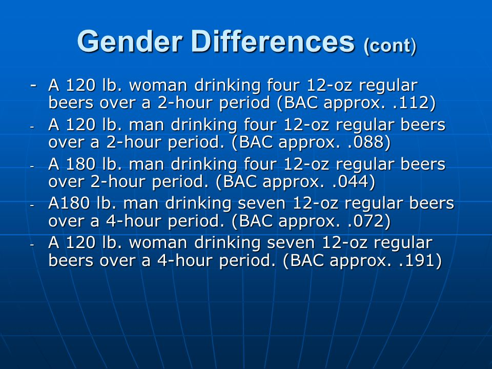 Gender Differences (cont) -A 120 lb.