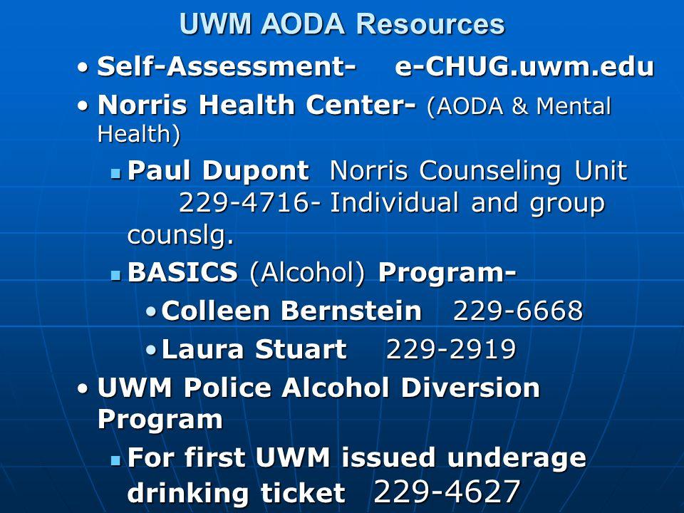 UWM AODA Resources Self-Assessment- e-CHUG.uwm.eduSelf-Assessment- e-CHUG.uwm.edu Norris Health Center- (AODA & Mental Health)Norris Health Center- (AODA & Mental Health) Paul Dupont Norris Counseling Unit 229-4716- Individual and group counslg.