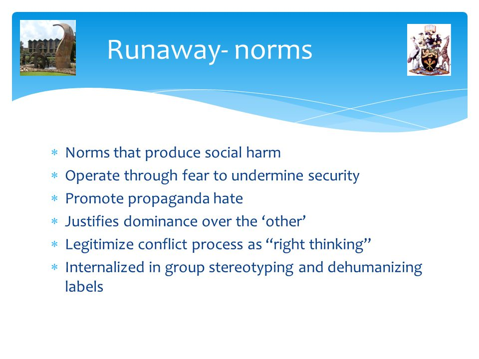 Runaway- norms  Norms that produce social harm  Operate through fear to undermine security  Promote propaganda hate  Justifies dominance over the 'other'  Legitimize conflict process as right thinking  Internalized in group stereotyping and dehumanizing labels