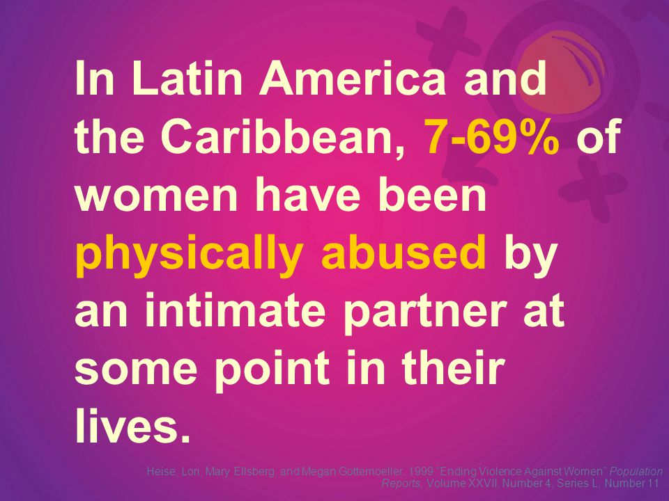 The proportion of women who have suffered violence at the hands of her partner has been recorded at 11% in Colombia, 10% in Nicaragua, 17% in Haiti and 23% in Mexico and Peru.