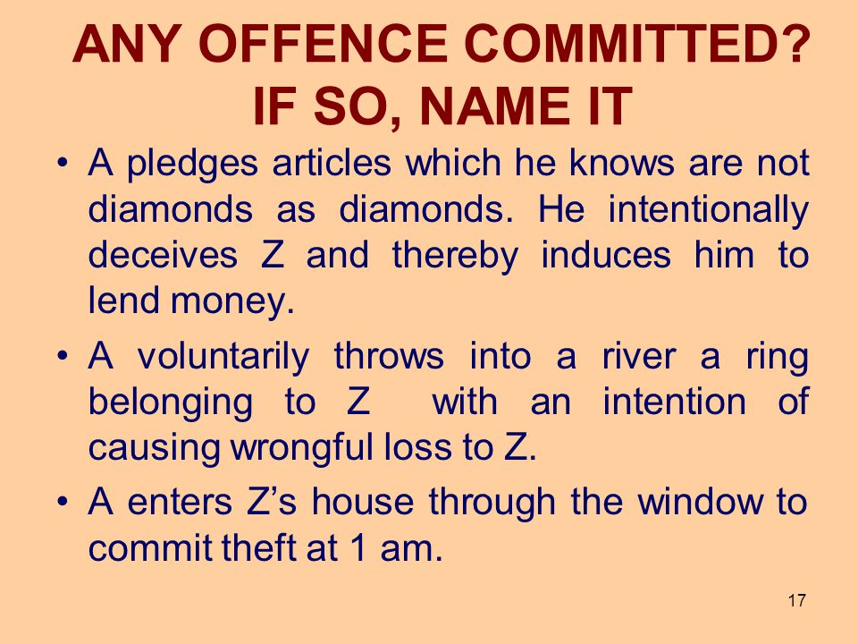 17 A pledges articles which he knows are not diamonds as diamonds. He intentionally deceives Z and thereby induces him to lend money. A voluntarily th