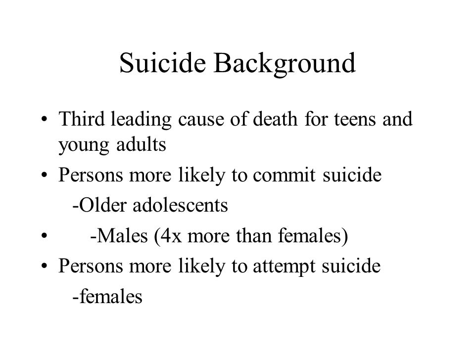 Suicide Background Third leading cause of death for teens and young adults Persons more likely to commit suicide -Older adolescents -Males (4x more than females) Persons more likely to attempt suicide -females
