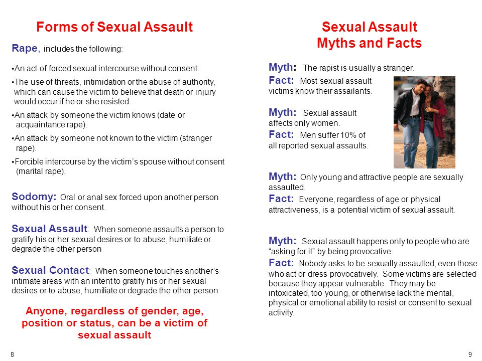 Forms of Sexual Assault Rape, includes the following: An act of forced sexual intercourse without consent. The use of threats, intimidation or the abu