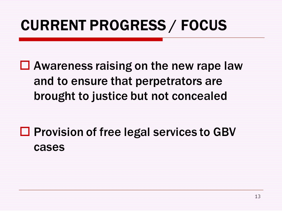 13 CURRENT PROGRESS / FOCUS  Awareness raising on the new rape law and to ensure that perpetrators are brought to justice but not concealed  Provision of free legal services to GBV cases