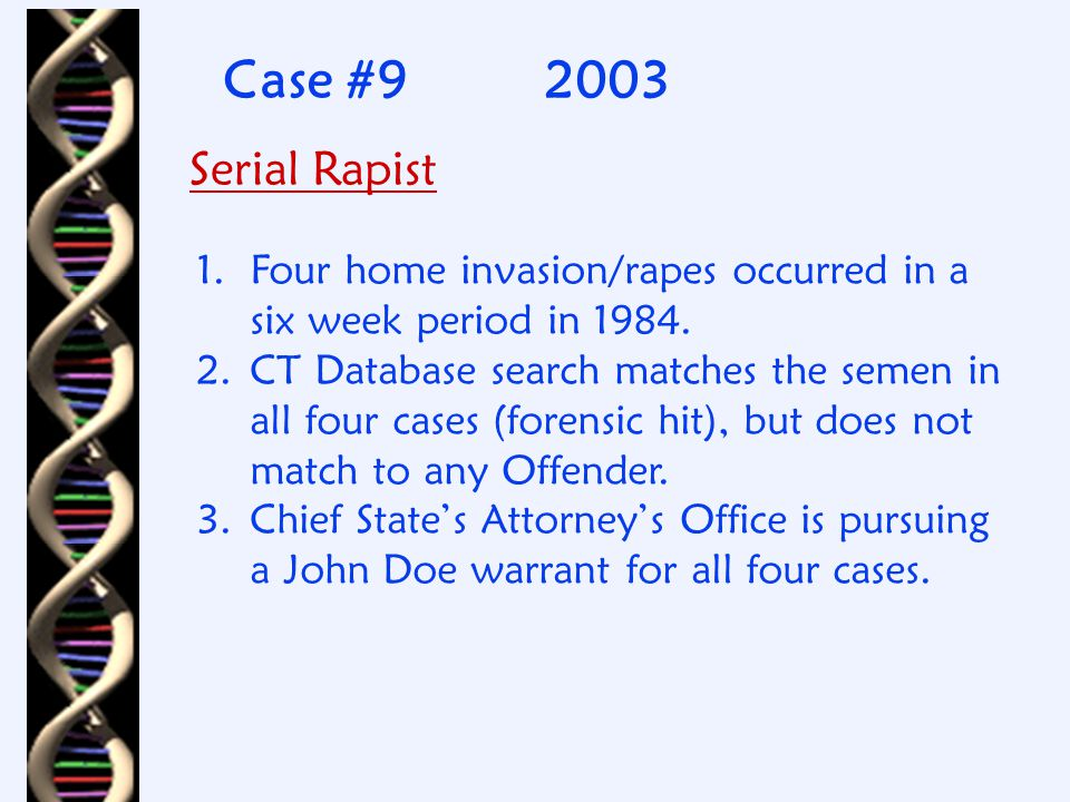 Case #82001-2002 Gang Rape 1. Woman sexually assaulted by 3 males.