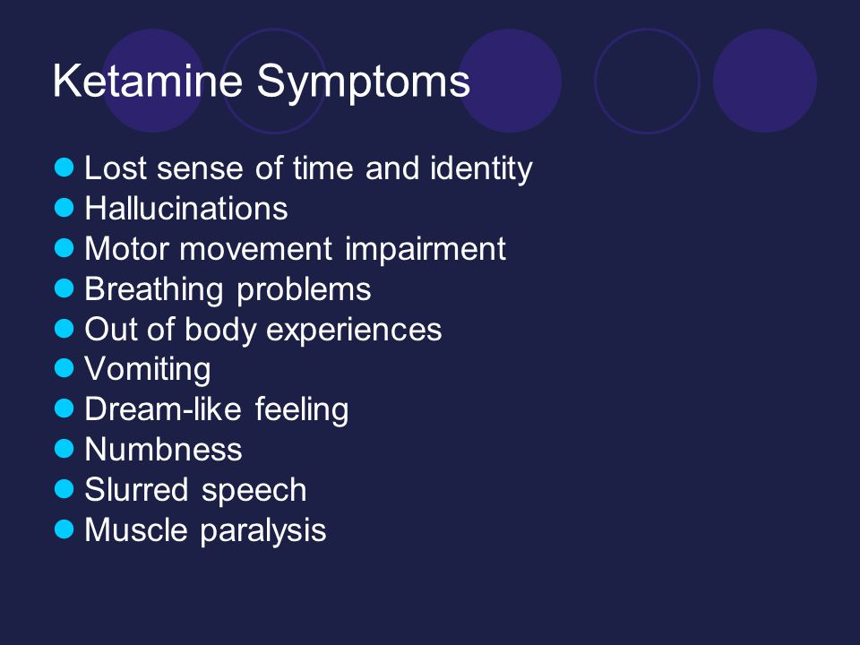 Ketamine Symptoms Lost sense of time and identity Hallucinations Motor movement impairment Breathing problems Out of body experiences Vomiting Dream-like feeling Numbness Slurred speech Muscle paralysis