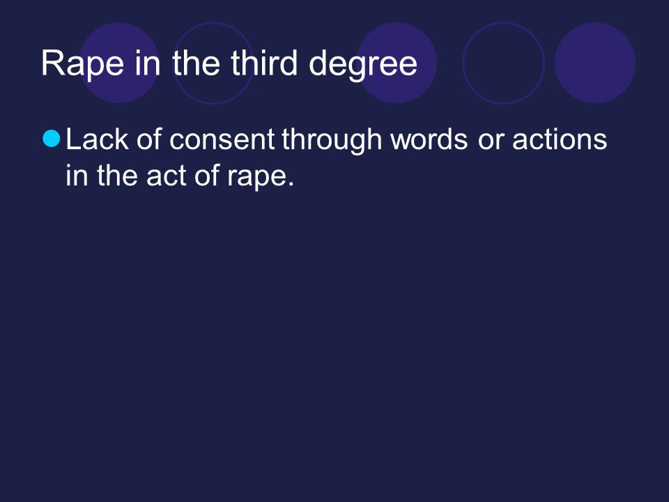 Rape in the third degree Lack of consent through words or actions in the act of rape.