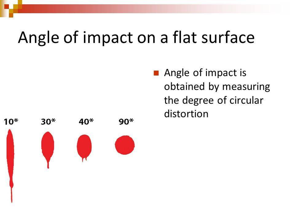 Angle of impact on a flat surface Angle of impact is obtained by measuring the degree of circular distortion