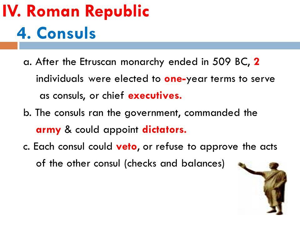 IV. Roman Republic 4. Consuls a.