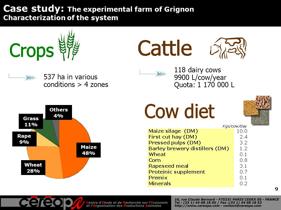 9 Case study: The experimental farm of Grignon Characterization of the system 537 ha in various conditions > 4 zones Wheat 28% Maize 48% Rape 9% Grass 11% Others 4% 118 dairy cows 9900 L/cow/year Quota: 1 170 000 L