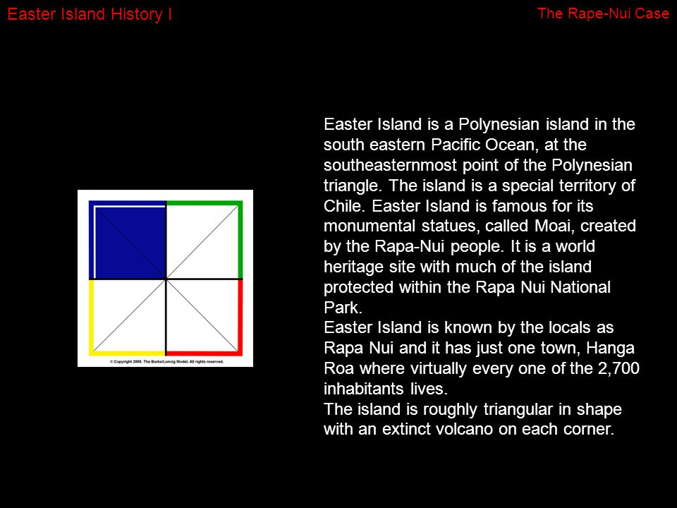 Easter Island History I Easter Island is a Polynesian island in the south eastern Pacific Ocean, at the southeasternmost point of the Polynesian triangle.