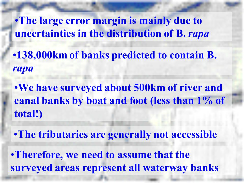 The large error margin is mainly due to uncertainties in the distribution of B. rapa 138,000km of banks predicted to contain B. rapa We have surveyed
