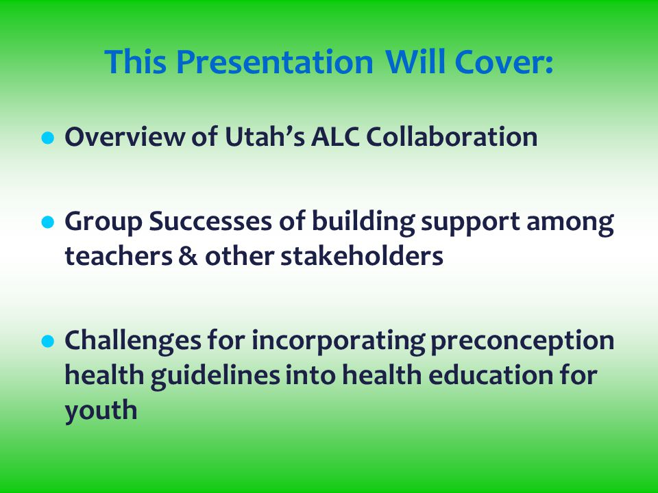 Presented by: The Utah State Office of Education, Prevention Dimensions, and The Utah Department of Health Prevention Strategies for Health Educators Mid-Year Health Education Conference St.