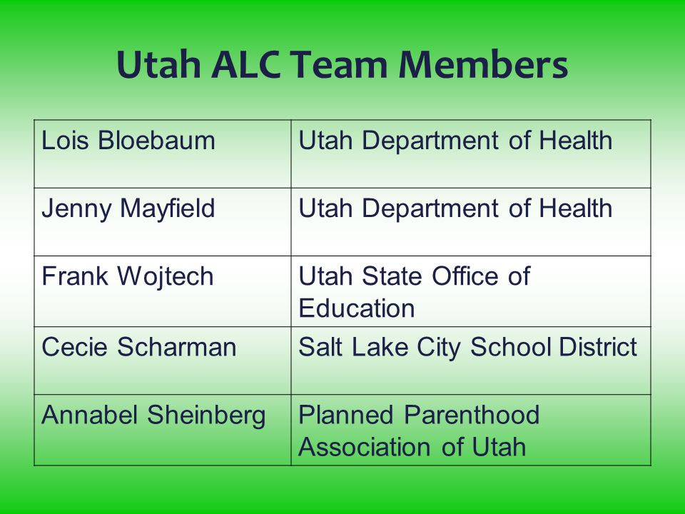 Utah ALC Team Members Lois BloebaumUtah Department of Health Jenny MayfieldUtah Department of Health Frank WojtechUtah State Office of Education Cecie ScharmanSalt Lake City School District Annabel SheinbergPlanned Parenthood Association of Utah
