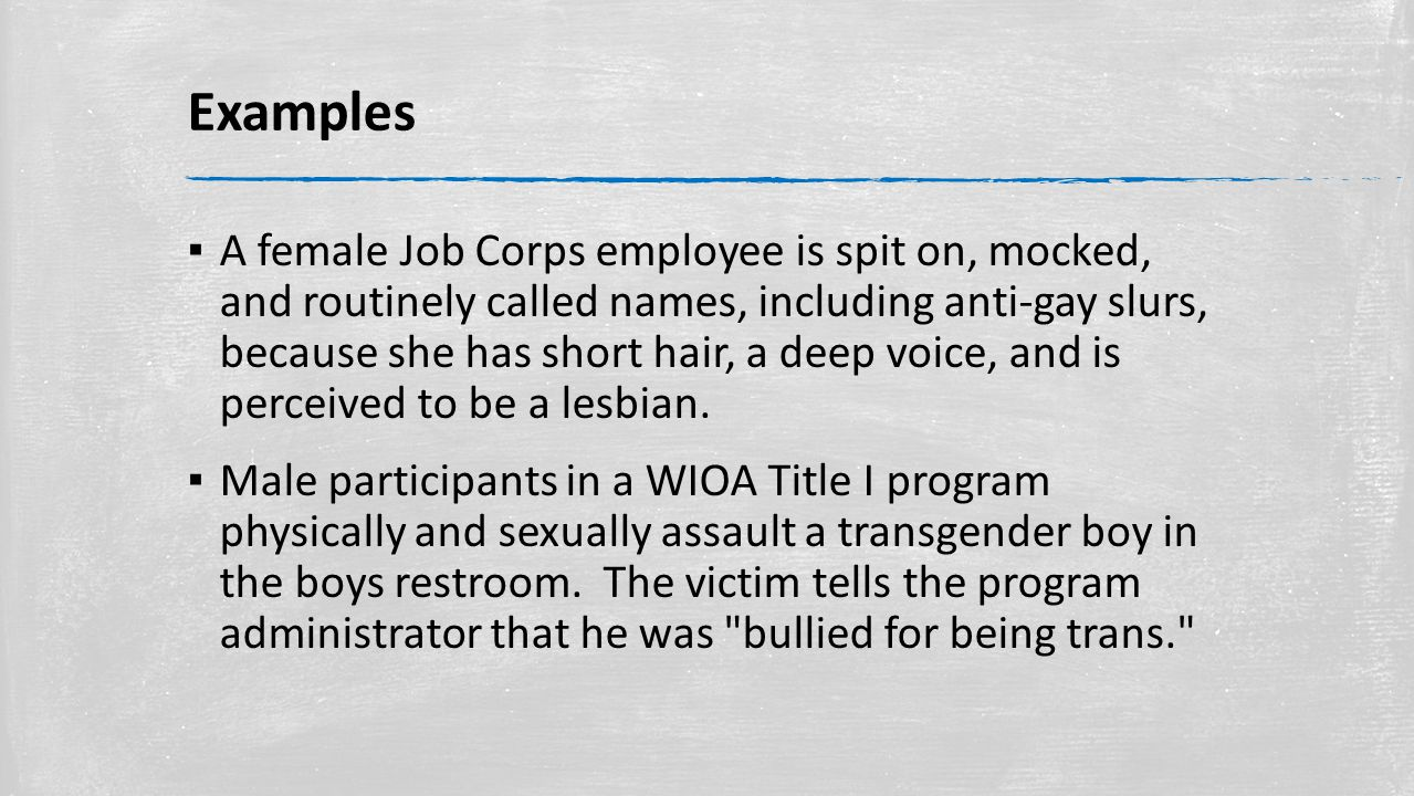 Examples ▪ A female Job Corps employee is spit on, mocked, and routinely called names, including anti-gay slurs, because she has short hair, a deep voice, and is perceived to be a lesbian.