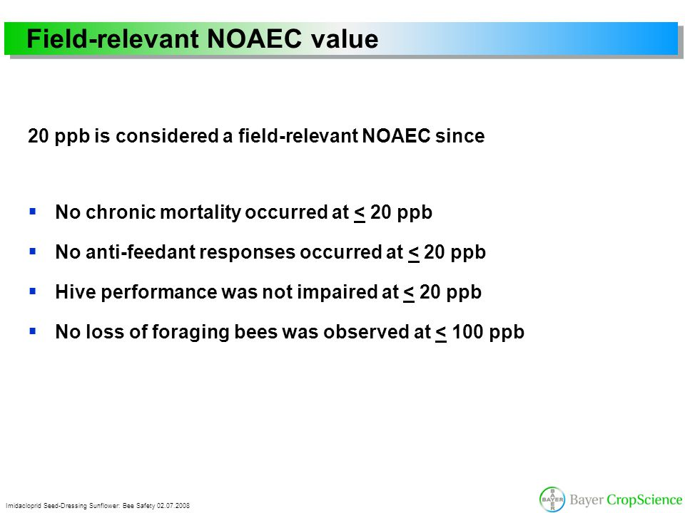 Imidacloprid Seed-Dressing Sunflower: Bee Safety 02.07.2008 Field-relevant NOAEC value 20 ppb is considered a field-relevant NOAEC since  No chronic