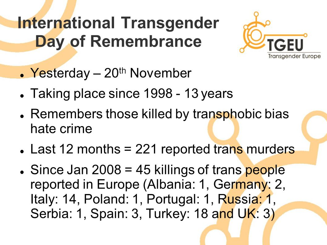 International Transgender Day of Remembrance Yesterday – 20 th November Taking place since 1998 - 13 years Remembers those killed by transphobic bias