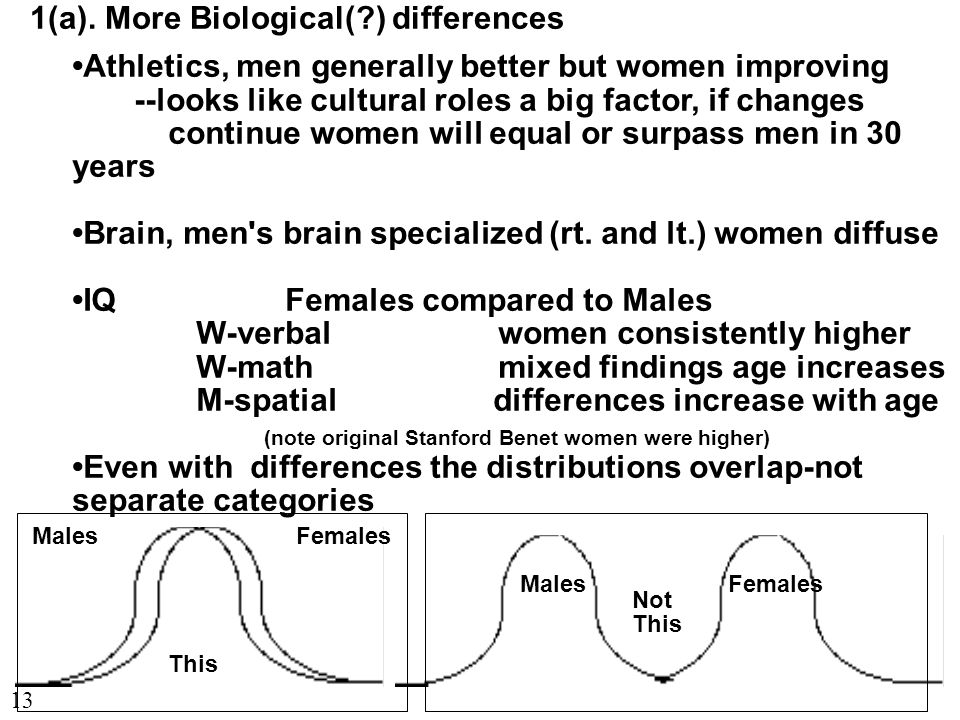 1(a). More Biological(?) differences Athletics, men generally better but women improving --looks like cultural roles a big factor, if changes continue